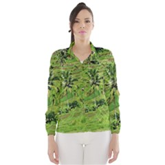 Greenery Paddy Fields Rice Crops Wind Breaker (women)