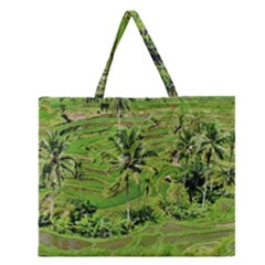 Greenery Paddy Fields Rice Crops Zipper Large Tote Bag
