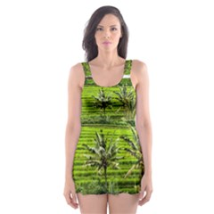 Bali Rice Terraces Landscape Rice Skater Dress Swimsuit