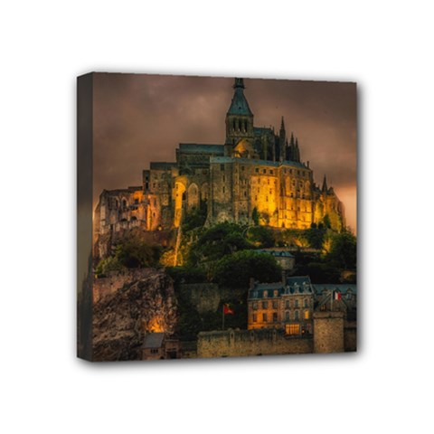 Mont St Michel Sunset Island Church Mini Canvas 4  X 4