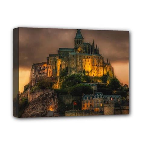 Mont St Michel Sunset Island Church Deluxe Canvas 16  X 12
