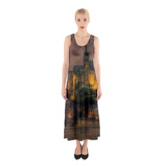 Mont St Michel Sunset Island Church Sleeveless Maxi Dress