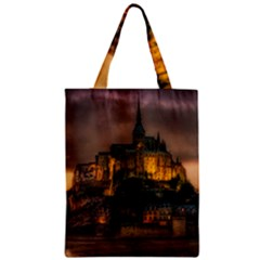 Mont St Michel Sunset Island Church Zipper Classic Tote Bag