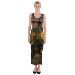 Mont St Michel Sunset Island Church Fitted Maxi Dress