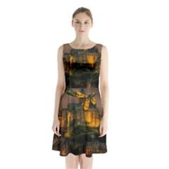 Mont St Michel Sunset Island Church Sleeveless Waist Tie Chiffon Dress