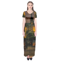 Mont St Michel Sunset Island Church Short Sleeve Maxi Dress