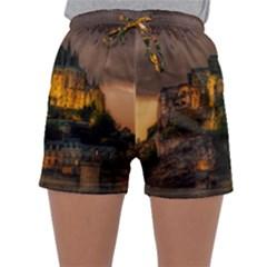 Mont St Michel Sunset Island Church Sleepwear Shorts