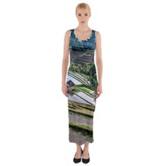 Rice Terrace Rice Fields Fitted Maxi Dress