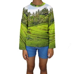 Rice Terrace Terraces Kids  Long Sleeve Swimwear