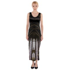 Sainte Chapelle Paris Stained Glass Fitted Maxi Dress