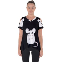 Cute Mouse Cut Out Side Drop Tee