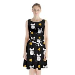 Cute Mouse Pattern Sleeveless Waist Tie Chiffon Dress