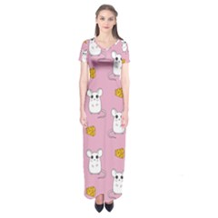 Cute Mouse Pattern Short Sleeve Maxi Dress