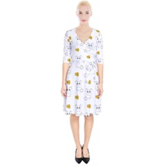 Cute Mouse Pattern Wrap Up Cocktail Dress
