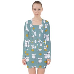 Cute Mouse Pattern V Neck Bodycon Long Sleeve Dress