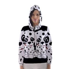 Cute Dalmatian Puppy  Hooded Wind Breaker (women)
