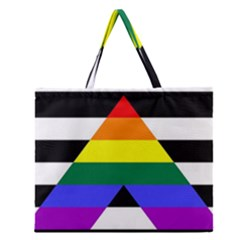 Straight Ally Flag Zipper Large Tote Bag