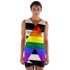 Straight Ally Flag Wrap Front Bodycon Dress
