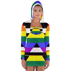 Straight Ally Flag Long Sleeve Hooded T Shirt