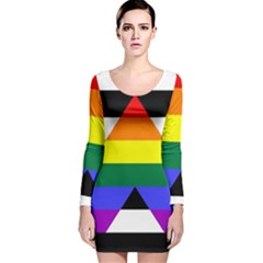 Straight Ally Flag Long Sleeve Velvet Bodycon Dress