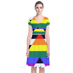 Straight Ally Flag Short Sleeve Front Wrap Dress