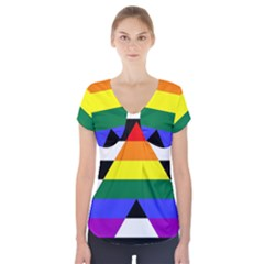 Straight Ally Flag Short Sleeve Front Detail Top