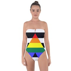 Straight Ally Flag Tie Back One Piece Swimsuit