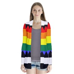 Straight Ally Flag Drape Collar Cardigan