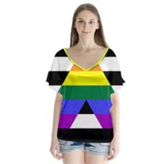 Straight Ally Flag V Neck Flutter Sleeve Top