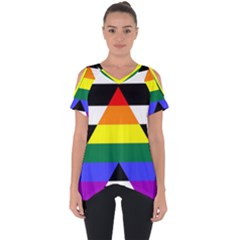Straight Ally Flag Cut Out Side Drop Tee