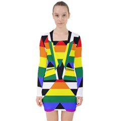 Straight Ally Flag V Neck Bodycon Long Sleeve Dress