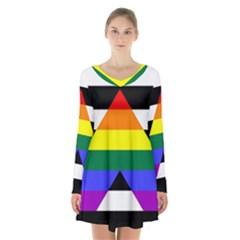Straight Ally Flag Long Sleeve Velvet V Neck Dress
