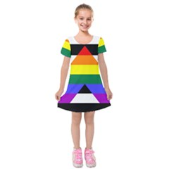 Straight Ally Flag Kids  Short Sleeve Velvet Dress