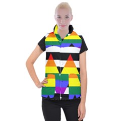 Straight Ally Flag Women s Button Up Puffer Vest