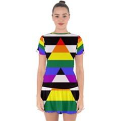 Straight Ally Flag Drop Hem Mini Chiffon Dress