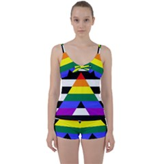 Straight Ally Flag Tie Front Two Piece Tankini