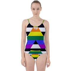 Straight Ally Flag Cut Out Top Tankini Set