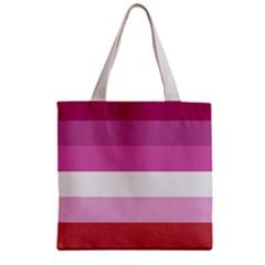 Lesbian Pride Flag Zipper Grocery Tote Bag