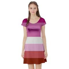 Lesbian Pride Flag Short Sleeve Skater Dress