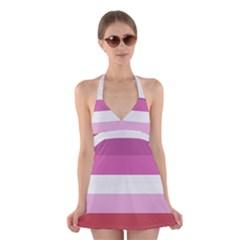 Lesbian Pride Flag Halter Swimsuit Dress
