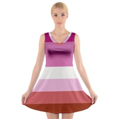 Lesbian Pride Flag V Neck Sleeveless Skater Dress