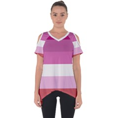 Lesbian Pride Flag Cut Out Side Drop Tee