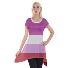 Lesbian Pride Flag Short Sleeve Side Drop Tunic