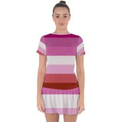 Lesbian Pride Flag Drop Hem Mini Chiffon Dress