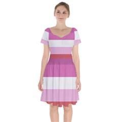 Lesbian Pride Flag Short Sleeve Bardot Dress