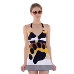 Bear Pride Flag Halter Swimsuit Dress