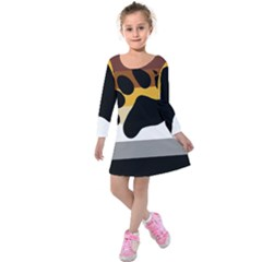 Bear Pride Flag Kids  Long Sleeve Velvet Dress
