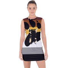Bear Pride Flag Lace Up Front Bodycon Dress