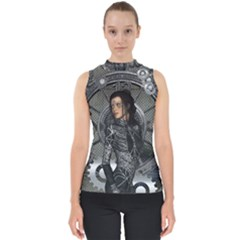 Steampunk, Steampunk Lady, Clocks And Gears In Silver Shell Top