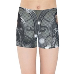 Steampunk, Steampunk Lady, Clocks And Gears In Silver Kids Sports Shorts